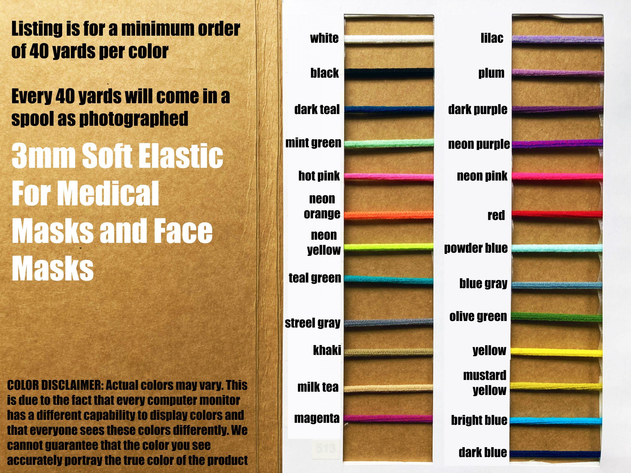 Elastic Cord For Medical Mask Face Mask 3mm Soft Elastic For